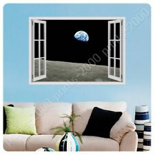POSTER Or STICKER Decals Vinyl Planet Earth From Moon Fake 3D Window