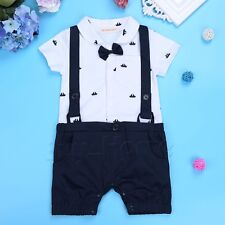 Newborn Toddler Kids Baby Boy Gentleman Jumpsuit Romper Bowtie Outfits Clothes