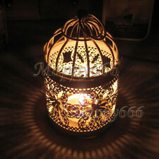 Romantic Hollow Hanging BirdCage Candle Holder Candlestick Lantern Party Decor