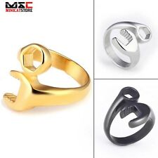 Punk Motorcycle Mechanic Wrench Tool Mens Stainless Steel Ring Biker Cool Band