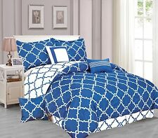 Galaxy 7-Piece Comforter Set Reversible Soft Oversized Bedding White Royal Blue