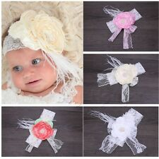 Cute Kids Baby Girl Toddler Lace Feather Hair Band Headwear Headband Accessories