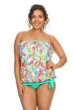 Dippin' Daisy's Plus Size Women Bandeau Blouson Tankini and Bottom - Made in USA