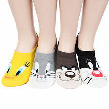 Cartoon Character Women's Socks 4pairs(4color)=1pack Socks Loafer Foot Cover