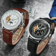 Men Leather Stainless Steel Steampunk Automatic Mechanical Wrist Watches Luxury