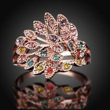 Colorful 18K Rose Gold Peacock Swarovski Crystal Solid Band Women Ring Jewelry