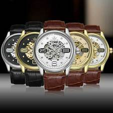 Men Steampunk Automatic Mechanical Self-Wind Skeleton Leather Wrist Watch Luxury