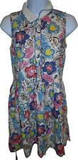 USED Ladies M&S White Floral Decal Collared Dress Size 12-13 Years (L.W)