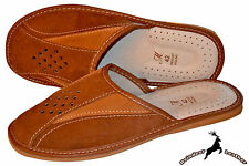 Mens Genuine Suede Leather Scuff Made In Poland Comfortable Slippers Sandal Mule