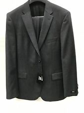 NEW Hugo Boss Mens 100% Wool Suit Charcoal Gray 2 Button Made In Turkey 44 R