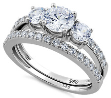925 Sterling Cubic Zirconia CZ Triple Round Stone Wedding Engagement Ring Set