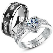 Her 925 Sterling Silver Heart CZ His Titanium Matching Wedding Ring Band Set
