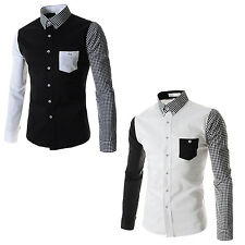 Black Mens Shirts Hit Color Sleeves Casual Slim Fit Long Sleeved Shirt D7D7