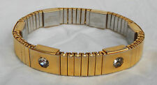 Vintage Magor Gold Plated Magnetic Expanding Bracelet with Crystals