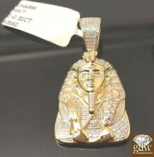 "10K Yellow Gold 1.5"" 0.32CT Diamond Egyptian Pharaoh Pendent, Rope, Franco Chain"