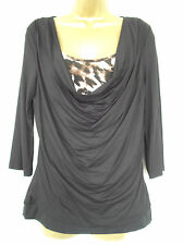 NEW - george - size 14 - lovely BLACK/ animal print drape neck ladies TOP  BNWoT