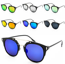 Trendy High Fashion Horned Rim Mirror Lens Crossbar Sunglasses Unisex