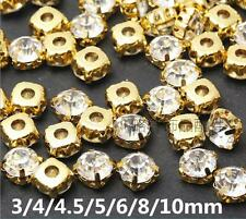 3mm-10mm Glass Round Clear Crystal Sew On Rhinestones Pointed Back Chaton