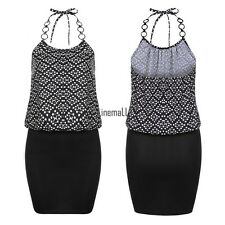Meaneor Women Sexy Spaghetti Strap Halter Dots Package Hip Slim Mini Dress LM01