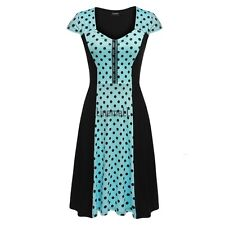 Zeagoo Women Cap Sleeve Dots Flare Fit A-Line Cocktail Party Dress LM01