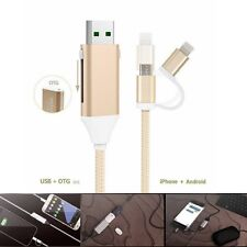 2.4A Micro USB OTG Charging Cable Adapter Charger Fr iPhone Android Samsung 2in1
