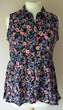 NEW - BHS - size 8 - 14 - COTTON BLACK/blue /red print ladies TOP/TUNIC - BNWoT