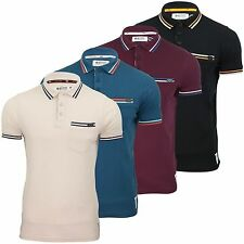 Mens Polo Shirt Designer Crosshatch Twin Cotton Tipped Collar SMALL SIZES