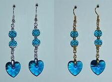 Peacock Blue Crystal Heart & Silver Or Gold Plate Earrings - Pierced Or Clip On