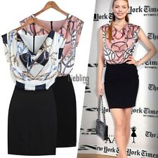 New Office Lady Patchwork Dress Package Hip Elegant Floral Mini Dress LEBB