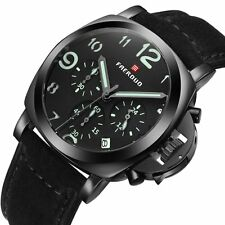 Mens Analog Stainless Quartz Wrist Watch Date Sport Watch Army Military Leather