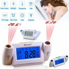 Digital LED Dual Laser Wall Projector Projection Alarm Time Clock Thermo