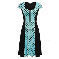 Zeagoo Women Cap Sleeve Dots Flare Fit A-Line Cocktail Party Dress LM03