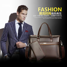 Business Mens Leather Briefcase Laptop Bag Handbag Shoulder Messenger Bag Wallet