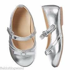 NWT Gymboree Silver Flats Dress shoes Toddler girls 4,5,6