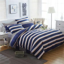 Striped Doona Duvet Quilt Cover Set Queen/King All Size Fitted Sheet Bed Set New