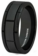 Mens Wedding Band 8mm Black Tungsten Ring Brushed Sections Comfort Fit