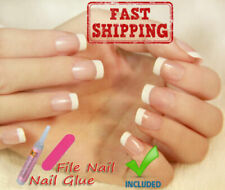 24Pcs Artificial false FRENCH MANICURE Fake Nails tips Glue - From Europe - vBLK