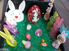 Vintage Lot of Spring Easter Rabbits Candy Holders Mattel Music Egg Troll Spoon+