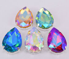 50 pcs Sew On Crystal Rhinestone Faceted Glass Color AB Teardrop Jewels Button