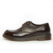 Men's synthetic leather apron toe rubber sole glossy brown lace ups shoes
