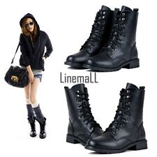 Fashion Women's Cool Black PUNK Military Army Knight Lace-up Short Boots LM02