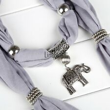 Alloy Elephant Pendant Scarf Charm Ring Jewelry Necklace Scarves LM02