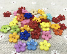 DIY 100PCS Resin buttons Mixed color Sewing Scrapbooking 2-Holes Flowers 15mm