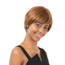 Women's Short Straight Oblique Bangs Human Hair Party Cosplay Full Wig Deft