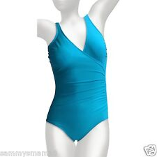 NEW Miraclesuit Size 14 Wrap Turquoise Blue Surplice 1-PC Swimsuit $122 NWT