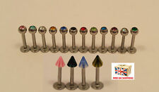 316L Surgical Stainless Steel With Gem Stone or Spike, Piercing Labret Ring