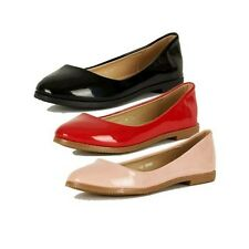 Ladies Patent rounded toe flat shoes / ballerina pumps