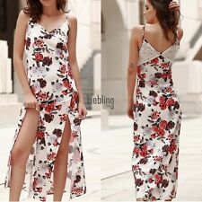 New Fashion Women Strap V Neck Floral Print Casual Maxi Long Dress LEBB