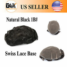 GEX Toupee Mens Hairpiece Swiss Lace Replacement System Human Hair Jet Black 1#