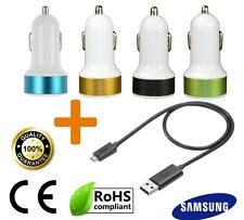 Black Samsung Micro USB Charger Cable + Twin port Car Charger socket Galaxy S6